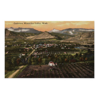 Aerial View of Town and Valley Poster