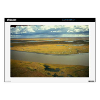 """AERIAL VIEW OF TUNDRA TURNING GOLDEN IN THE FALL DECAL FOR 17"""" LAPTOP"""