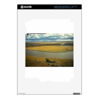 AERIAL VIEW OF TUNDRA TURNING GOLDEN IN THE FALL iPad 3 SKINS