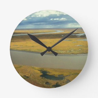 AERIAL VIEW OF TUNDRA TURNING GOLDEN IN THE FALL ROUND CLOCK