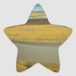 AERIAL VIEW OF TUNDRA TURNING GOLDEN IN THE FALL STAR STICKER