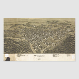 Aerial View of Tyrone, Pennsylvania (1895) Rectangular Sticker