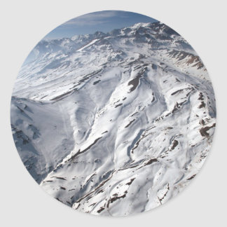 Aerial view of Valle Nevado ski resort Chile Classic Round Sticker