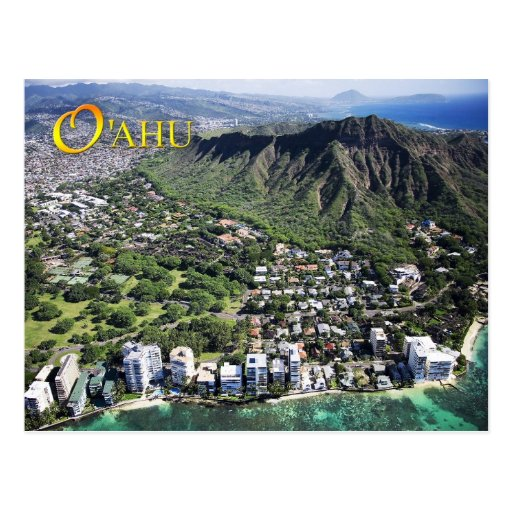 Aerial view of Waikiki Beach and Diamond Head Post Card
