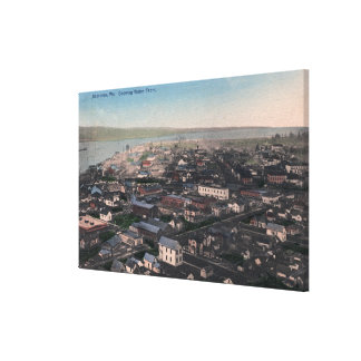 Aerial View of Waterfront and City Canvas Print