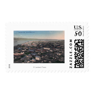 Aerial View of Waterfront and City Postage