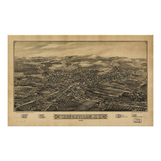 Aerial View of Waterville, New York (1885) Poster