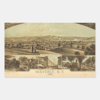 Aerial View of Waverly, New York by J Moray (1881) Rectangular Sticker