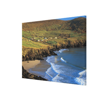 aerial view of waves washing up against a canvas prints