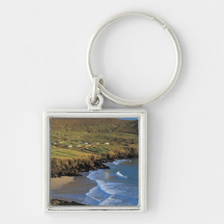 aerial view of waves washing up against a keychain