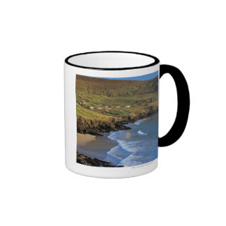 aerial view of waves washing up against a ringer coffee mug