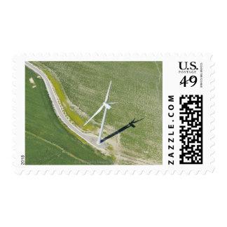 Aerial View of Wind Turbine in Field near Jerez Stamps