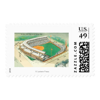 Aerial View of Wrigley Field # 3Chicago, IL Postage Stamp