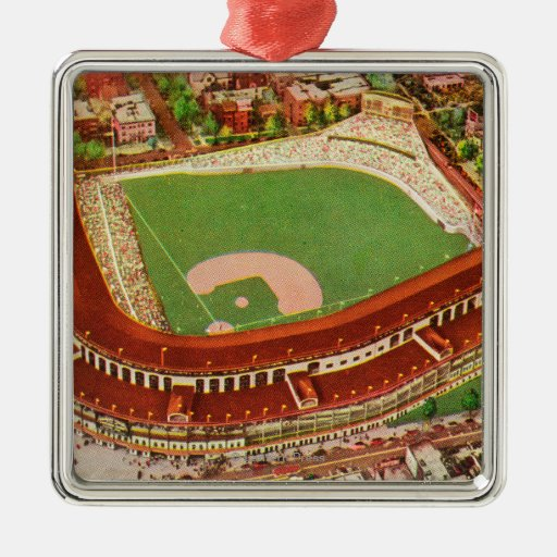 Aerial View of Wrigley FieldChicago, IL Square Metal Christmas Ornament