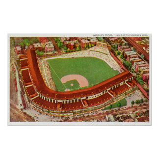 Aerial View of Wrigley FieldChicago, IL Print