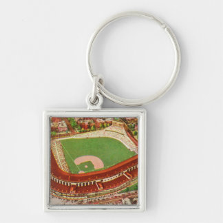 Aerial View of Wrigley FieldChicago, IL Silver-Colored Square Keychain