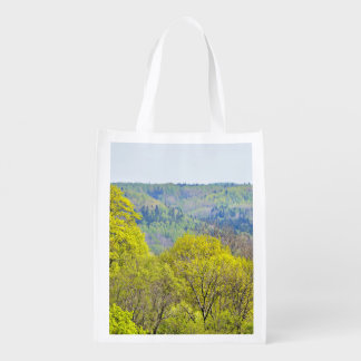 Aerial View On Gauja River Valley In Spring In Sig Grocery Bag