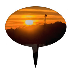 Aerial View Sunset Scene of Montevideo Uruguay Cake Topper