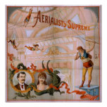 AERIALISTS SUPREME Trapeze Act VAUDEVILLE Poster