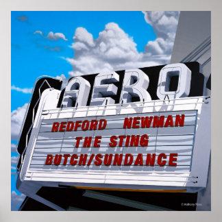 Aero- impresión histórica del teatro póster