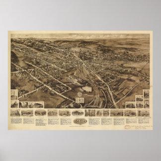 Aero- mapa de la visión de Goshen Nueva York Póster