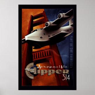 Aero- poster del pacificClipper 314 del vintage