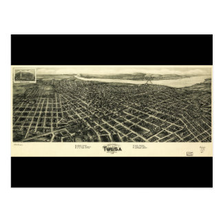 Aero view Map of Tulsa Oklahoma (1918) Postcard