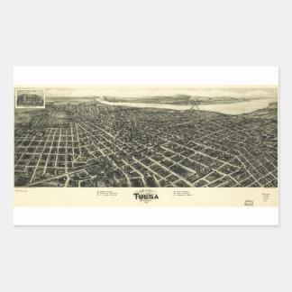 Aero view Map of Tulsa Oklahoma (1918) Rectangular Sticker