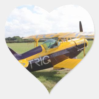 Aerobatic Bi-Plane On The Field Heart Sticker