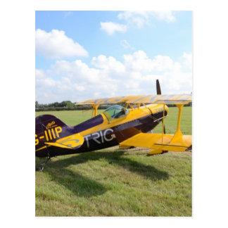 Aerobatic Bi-Plane On The Field Postcard