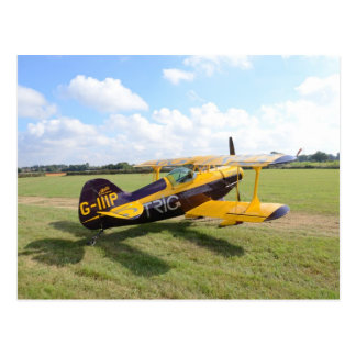 Aerobatic Bi-Plane On The Field Post Card