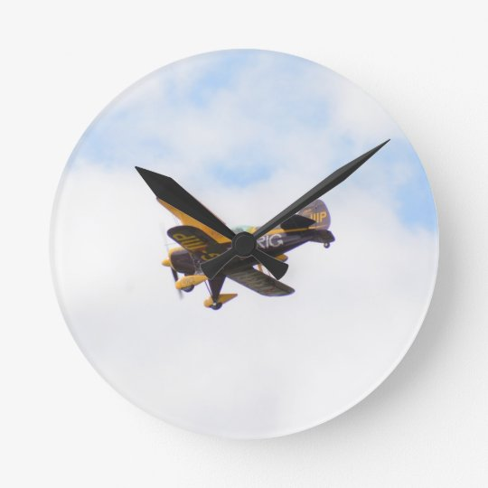 Aerobatic Biplane In Flight Round Clock