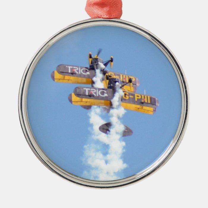 Aerobatic Biplanes In Flight Metal Ornament