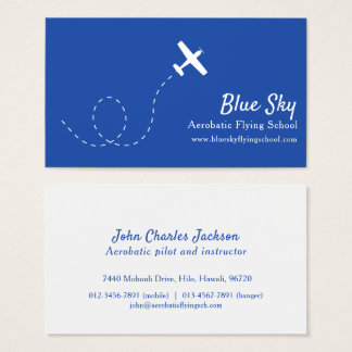 Aerobatic white blue modern aviation business card