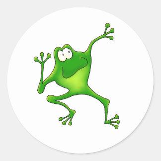 Aerobics Frog Classic Round Sticker