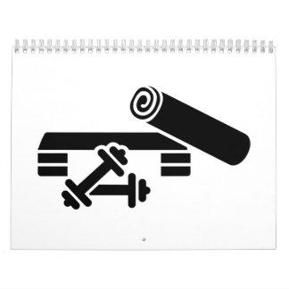 Aerobics step barbell dumbbell calendar