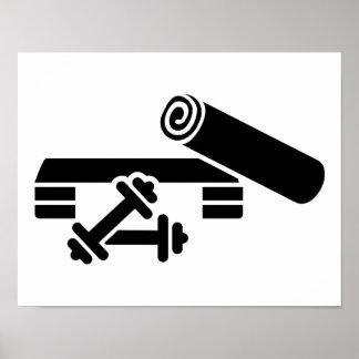 Aerobics step barbell dumbbell poster