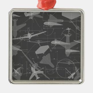Aerodynamics Square Metal Christmas Ornament