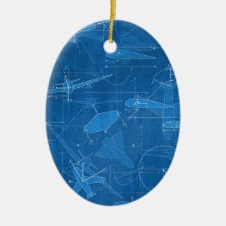 Aerodynamics Double-Sided Oval Ceramic Christmas Ornament