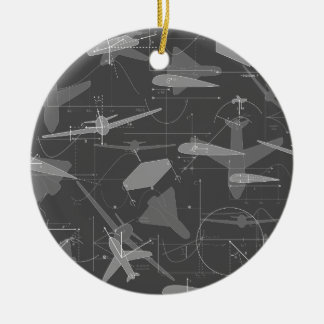 Aerodynamics Double-Sided Ceramic Round Christmas Ornament