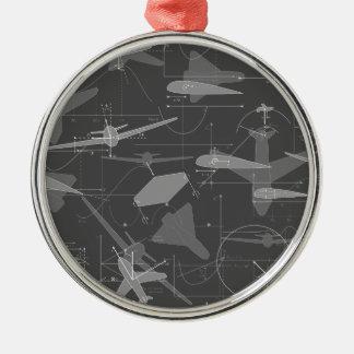 Aerodynamics Round Metal Christmas Ornament
