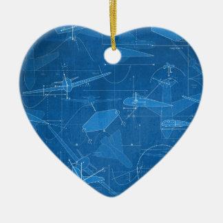 Aerodynamics Double-Sided Heart Ceramic Christmas Ornament
