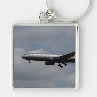 Aeroflot Airbus A330 Llavero Cuadrado Plateado