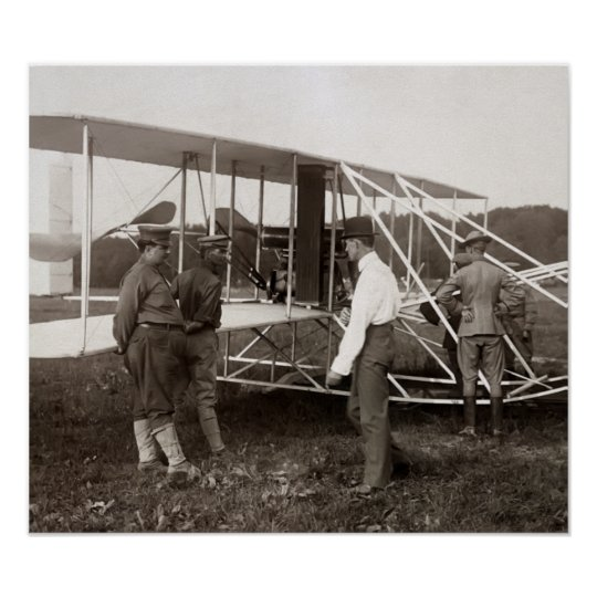 AEROPLANE and ORVILLE WRIGHT  1908 Poster