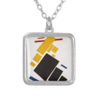 Aeroplane Flying by Kazimir Malevich Silver Plated Necklace