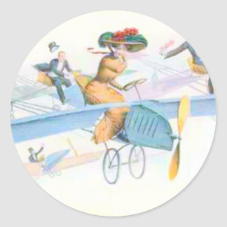 Aeroplane Woman & Her Suitors Classic Round Sticker