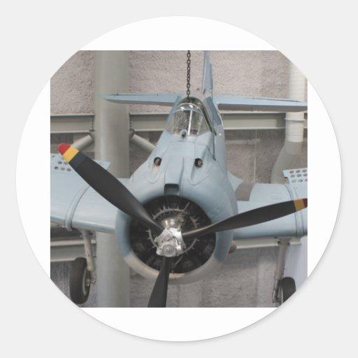 Aeroplano #3 de WWII Pegatina Redonda