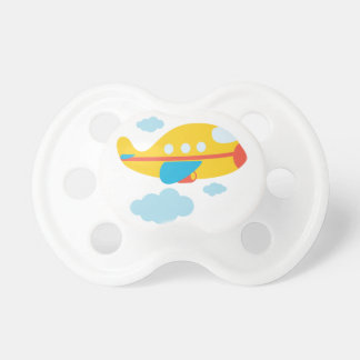 Aeroplano amarillo del dibujo animado chupetes para bebes