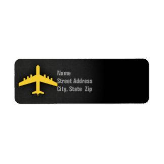 Aeroplano ambarino amarillo etiqueta de remite