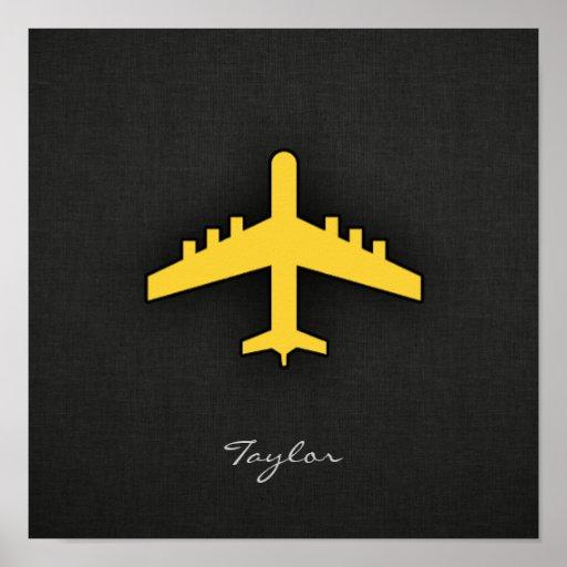 Aeroplano ambarino amarillo poster